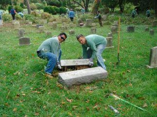 restoring the headstone